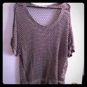 Tan Knit Short Sleeve CoverUp Top